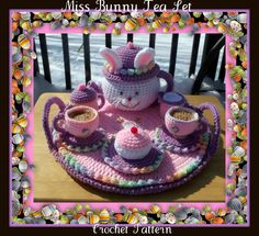 Oh my little girl is gonna LOVE this!!! Miss Bunny Tea Set Crochet Pattern. $7.99, via Etsy.