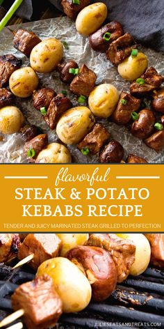 Give this amazing food idea a try on Labor Day! This Steak Kebab Recipes, Veggie Recipes, Beef Recipes, Real Food Recipes, Cooking Recipes, Veggie Food, Yummy Recipes, Grill Recipes, Healthy Recipes