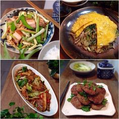 -清明小炒.spring dish featuring 蕎菜(らっきょう),roast pork,蘿蔔干(干し大根),snow pea,dried bean curd.It's only around 清明(one of the 24 Chinese 節氣)that 蕎菜(らっきょう) is available. -和菜戴帽.Beijingese dish,with spinach,yellow chives,春雨,pork,cover with a egg sheet,hence 戴帽. -煎蓮藕餅.mince pork patty,with grated lotus root(蓮根), c - 256件のもぐもぐ - 4 Chinese dishes by rick chan