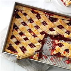 Apple Cranberry Slab Pie Recipe- Recipes  My husband loves pie, so I made one with apples, raspberries and cranberries. It's so good, I bend the rules and let the grandkids have it for breakfast. —Brenda Smith, Curran, Michigan