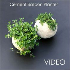 How to make really cool round ball shaped planters with cement. Mold the cement around a balloon to get the round shape. This detailed tutorial for making a DIY cement balloon planter is actually easy and so much fun! Diy Cement Planters, Cement Art, Concrete Cement, Concrete Crafts, Concrete Garden, Concrete Furniture, Concrete Projects, Polished Concrete, Garden Planters