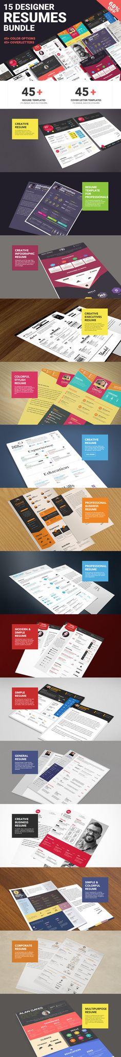 Massive Designer Resumes Bundle by ZippyPixels on @creativework247