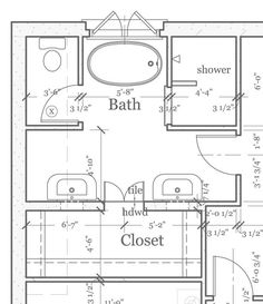 Master Bathroom Floor Plans for Small Space. Move closet door to right (and make 1 door, not double) Then make sinks one long counter w/ vanity bt. on left. Add washer and dryer to closet.