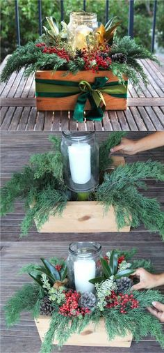 Beautiful & Free DIY Christmas Centerpiece DIY Christmas table decorations centerpiece for almost free! Easy tutorial & video on how to make a beautiful Christmas centerpiece as decor & gifts in 10 minutes! A Piece of Rainbow Outdoor Christmas, Rustic Christmas, Christmas Home, Christmas Holidays, Christmas Wreaths, Christmas Ideas, Christmas Movies, Christmas Music, Diy Christmas Wedding
