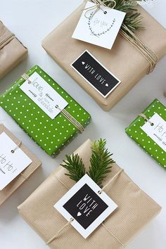 kraft wrap with green accents, love this!