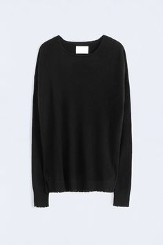 Zadig et Voltaire sweater, round collar with long sleeves, elbows patchs in leather, 100% cashmere