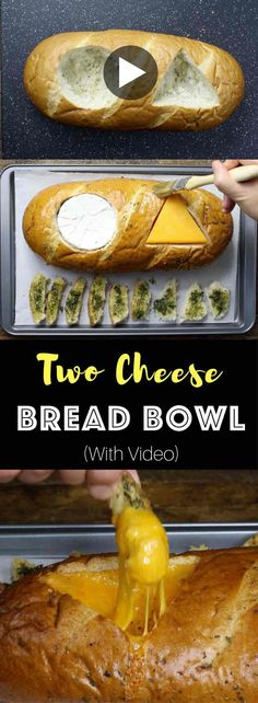 Two Cheese Bread Bowl – Flavorful, fondue-like camembert and cheddar cheese baked inside of bread loaf. Served crispy Italian and herb seasoned bread slices. So Good! This cheese dip recipe is a quick and easy snack recipe that's perfect for a holiday party or Super Bowl party. Vegetarian, video recipe. | Tipbuzz.com