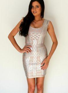 Multi Sexy Dress - Silver Foil Metallic Bandage Dress | UsTrendy