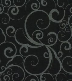 Quilter's Showcase Cotton Fabric- Scrolling Black & Gray