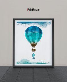 Air Balloon watercolor Print Watercolor Poster Art by iPrintPoster