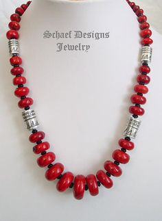 Schaef Designs Red coral, black onyx and sterling silver tube bead single strand…