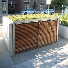 afbeeldingsresultaat voor fietsenhok in voortuin fietshok Fietsenhok Tuin - Outdoor Bike Storage, Bicycle Storage, Garbage Can Storage, Storage Bins, Hidden Storage, Bin Shed, Outdoor Lighting, Outdoor Decor, House Front
