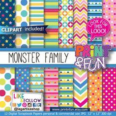 Para la fiesta de Henry Moustrito... Monster Digital Paper, clip art, characters, Background, Patterns for Party Printables, bottle labels, favor boxes