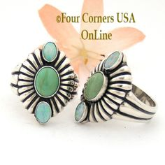 Sizes 6 1/2 To 8 1/4 Green Turquoise and Opal Sterling Ring Southwestern Silver Jewelry FCR-1492 Closeout Final Sale Four Corners USA OnLine