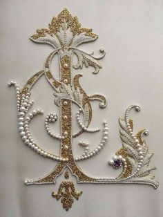 Art : Embroidery & Ribbonwork Detail of Ornate letter. Pearl embroidery done by Larissa Borodich Soi Pearl Embroidery, Tambour Embroidery, Embroidery Letters, Silk Ribbon Embroidery, Embroidery Stitches, Embroidery Designs, Diy Embroidery, Tambour Beading, Bordados Tambour