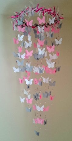 Butterfly Nursery Mobile Pink and Grey by PartyPaperBoutique, $48.50