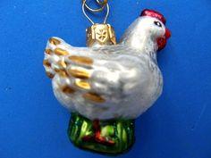 Blown glass ornament chicken