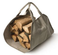 camp, camping, fire, fireplace, firewood, firewood carrier, wood carrier, canvas carrier