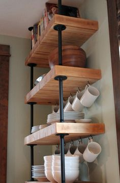 Kitchen Living Rooms Remodeling This is how to get level, open, wooden shelves. Purchase IKEA butcher block, and cut it to size for the shelves. Kitchen Redo, Living Room Kitchen, New Kitchen, Kitchen Remodel, Kitchen Shelves, Industrial House, Industrial Interiors, Industrial Shelving, Industrial Table