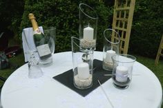 wedding Ceremony elements : The Candle of Unity, A remembrance candle for absent loved ones and The Loving cup. Photograph by Cherry Thatcher,