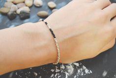 C-093 Silver Beaded bracelet, Seed bead bracelet, Black beads, Simple bracelet, Modern bracelet/Everyday jewelry/