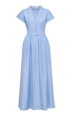 This Ulyana Sergeenko dress features a v-neckline, cap sleeves, and a maxi length.