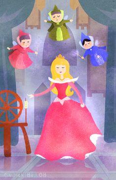 Princess Aurora and Flora, Fauna, and Merryweather - Sleeping Beauty