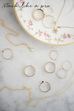 Jewelry stacking tips from Catbird's owner and new CFDA member, Rony Vardi. Dainty Necklace, Gold Necklace, Delicate Necklaces, Pro Tip, Feeling Fine, Thin Rings, Layered Jewelry, Nice Dresses, Hoop Earrings
