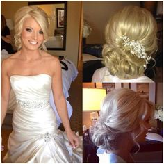 Bridal hair updo loose, blonde bridal hair, loose curls, natural looks, hai Bridal Hair Updo Loose, Blonde Bridal Hair, Bridesmaid Hair Updo, Prom Hair Updo, Bridal Makeup For Blondes, Wedding Hair And Makeup, Wedding Updo, Wedding Nails, Carrie Underwood Wedding