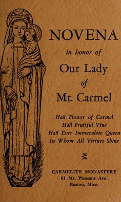 Novena in honor of Our Lady of Mount Carmel Catholic Prayer For Healing, Prayers For Healing, Roman Catholic Prayers, Patron Saints, Catholic Saints, Sick, Lady Of Mount Carmel, Novena Prayers, Prayers For Children
