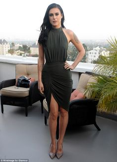 Leggy display: Rumer Willis confidently paraded her lean and slender frame as she attended a lavish dinner party, hosted by Glamour Magazine, at Chateau Marmont in Los Angeles, California on Friday