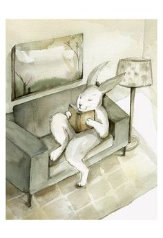 A Good Book Rabbit Art  Large Archival print of by amberalexander, $40.00