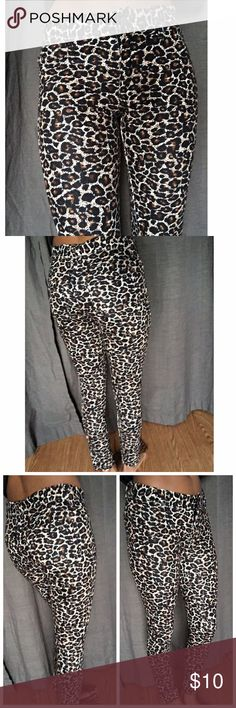Leopard Print jegging ALL NON-BOUTIQUE PANTS ARE BUY 3 GET ONE FREE!!(let me know which three you like and I will make you a new listing with the correct price reflected) size S/M but will definitely for a small comfortably (I'm a size small in the pictures). Great condition, barely worn. memoi Pants Leggings