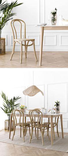 Adele silla natural / Adele, una preciosa silla de madera en acabado natural, con un bonito diseño de madera curvada. Un modelo ideal para aporta un look retro y distintivo a tus estancias. ¡Prueba a combinarla en distintos acabados, seguro que te encanta! Farmhouse Renovation, Look Retro, Wishbone Chair, Decoration, Chair Design, Minimalism, Dining Chairs, Room Decor, Table