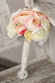 Bride Bouquet White Cream Pink Peach Roses Ranunculus
