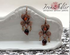 Copper wire wrapped earrings with carnelian and citrine. $34.00, via Etsy.