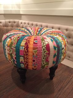 Tuffet by Jodi Beauchamp. Diy Wood Projects, Sewing Projects, Aqua Color Palette, Crazy Patchwork, Fabric Ottoman, My Sewing Room, Recycled Fabric, Diy Bed, Bohemian Decor