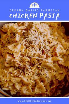 Best & healthy recipes of Instant Pot Creamy Garlic Parmesan Chicken Pasta Easy Healthy Pasta Recipes, Creamy Pasta Recipes, Vegetarian Pasta Recipes, Paleo Chicken Recipes, Pasta Dinner Recipes, Yummy Pasta Recipes, Recipe Pasta, Recipe Chicken, Chicken Parmesan Pasta