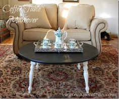 Coffee Table Makeover - A Goodwill coffee table gets a makeover with paint. So pretty now! virginiasweetpea.com