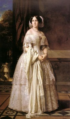 Marquesa Maria Josefa wears a lovely pre-crinoline dress with two lace tiers on her skirt, a wide lace bertha, and a feathered headdress. Victorian Paintings, Renaissance Paintings, Victorian Art, Renaissance Art, Victorian Fashion, Fashion History, Fashion Art, Crinoline Dress, Vintage Dresses