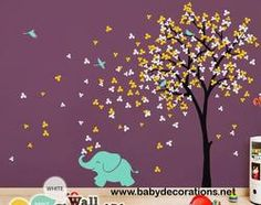 "Baby Nursery Wall Decals - Tree Wall Decal Elephant Decal Decor Tree Wall Mural Sticker Decoration - Large: approx 83"" x 53"" - KC033 - http://www.babydecorations.net/baby-nursery-wall-decals-tree-wall-decal-elephant-decal-decor-tree-wall-mural-sticker-decoration-large-approx-83-x-53-kc033.html"