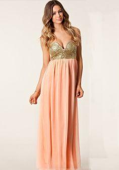 Pink Patchwork Bandeau Sequin Boat Neck Chiffon Dress