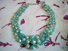 Vintage Turquoise Blue Art Glass Bead Necklace Japan by BlackRain4