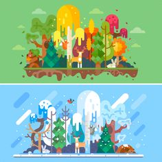 Autumn and Winter Forest Landscapes Flat Vector illustration Vector EPS, PSD