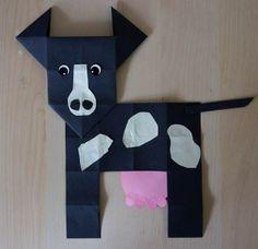 Koe vouwen – knutselen. Origami. Knutselen met kinderen. Thema dieren, boerderij.