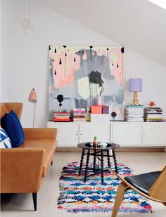 Colorful living room with artwork #home #art #interiors #livingroom