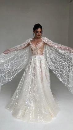 Gold Wedding Dresses, Wedding Dress Cape, Ethereal Wedding Dress, Wedding Dress Bustle, Weeding Dress, Luxury Wedding Dress, Backless Wedding, Bridal Dresses, Wedding Gowns