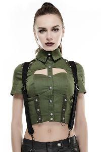 Bluse mit Nieten im Uniform Look - grün