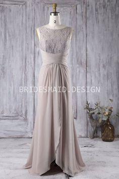 vintage inspired lace and chiffon classy sleeveless bridesmaid dress