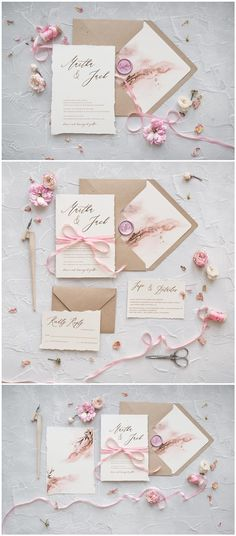 Kraft paper calligraphy pink wedding invitations #rusticwedding #wedding #invitations #weddingcards / http://www.deerpearlflowers.com/wedding-invitations-from-4lovepolkadots/